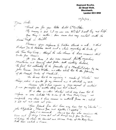The letter in which Bourke says he has no lineage to give